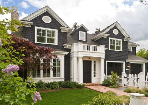 Dark Slate Gray Siding And Front Door White Trim Home
