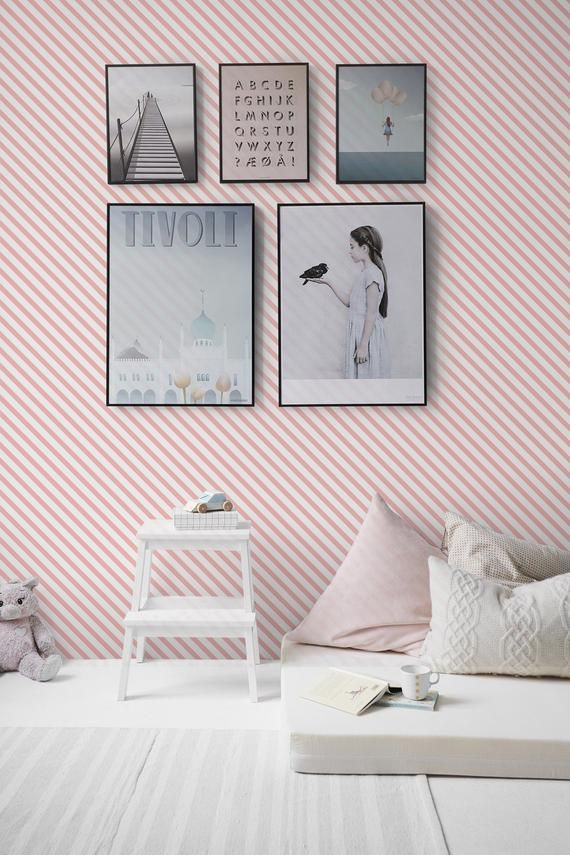Diagonal Lines Removable Wallpaper Design Self Adhesive Wallpaper With A Pattern Of Diagonal Lines Pink Lines Peel And Stick Wallpaper Removable Wallpaper Girly Room Self Adhesive Wallpaper
