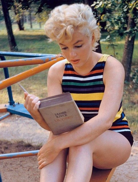 When Blondes Had More Brains: In 1955, Arnold photographed Monroe reading a worn copy of James Joyce's modernist classic, Ulysses.