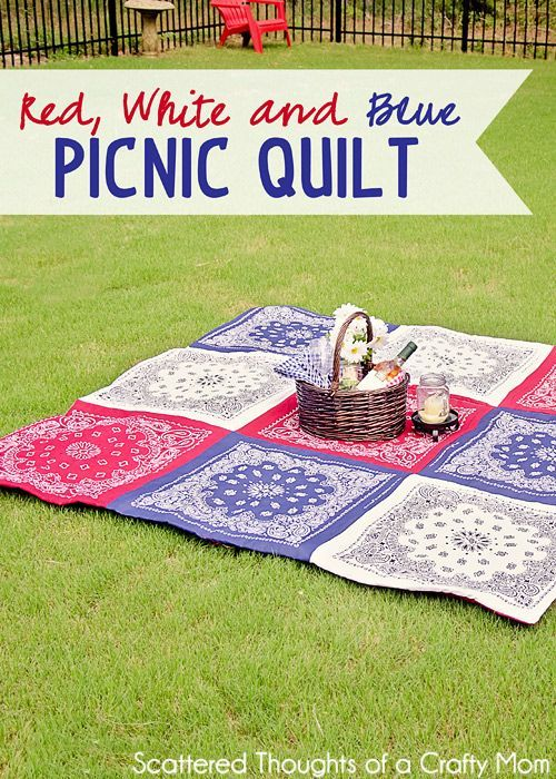 Turn colorful bandanas into an easy-to-wash picnic quilt. Get the tutorial at Scattered Thoughts of a Crafty Mom.   - CountryLiving.com