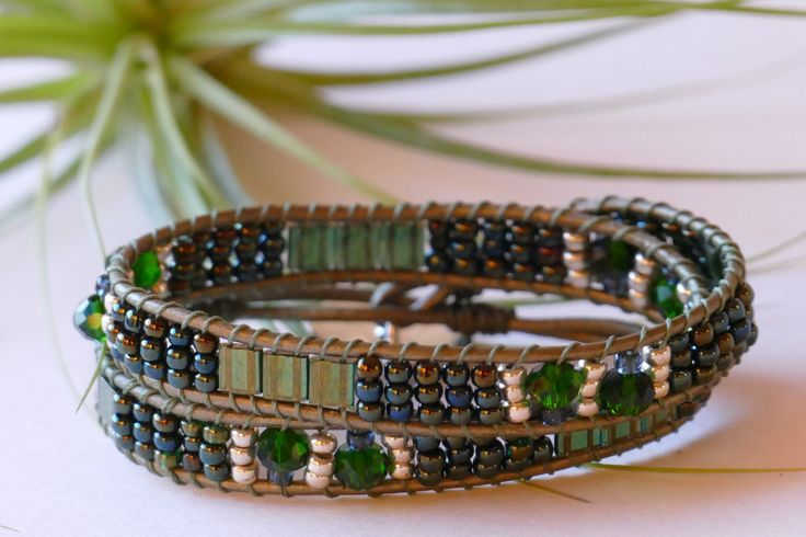 Emerald Green Wrap Bracelet, Dark Green Wrap Bracelet, Patterned Wrap, Ladder Bracelet, One-Of-A-Kind Wrap Unique Wrap Bracelet Wrap by BaysideBlissDesigns on Etsy $37.00