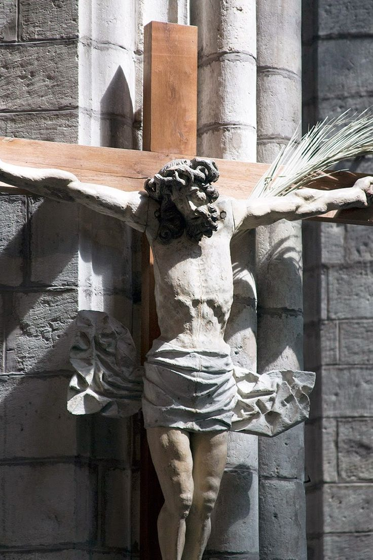 statue of Jesus in St Bataafs cathedral, Ghent Belgium