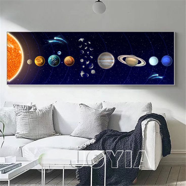 Modern painting cosmic planet canvas art vast solar system planets and moons photo prints bedside room kids wall decor no fram