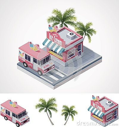Vector isometric ice cream store and truck by Tele52, via Dreamstime