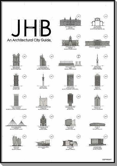 'JHB, AN ARCHITECTURAL CITY GUIDE – Johannesburg' print by Blank Ink Design <3
