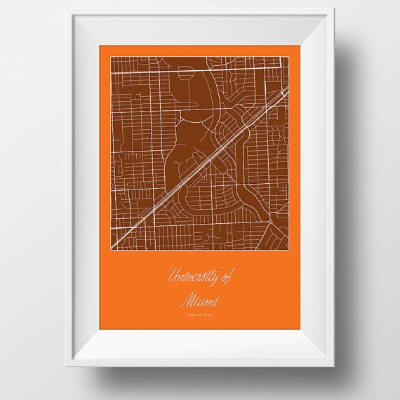 University of Miami Campus and Area Street Map in Miami Florida Modern Minimalist Art Print Office or Home Wall Decor