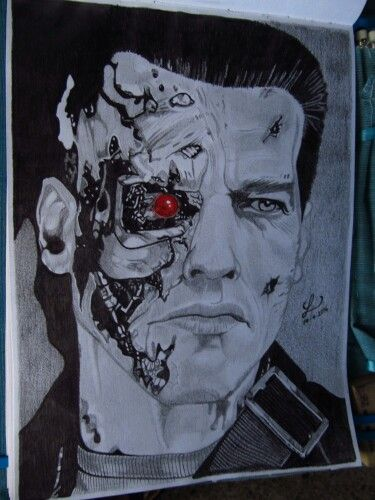 Graphite pencils. Terminator Genisys Arnold Schwarzenegger / T-800 Battle Damaged.