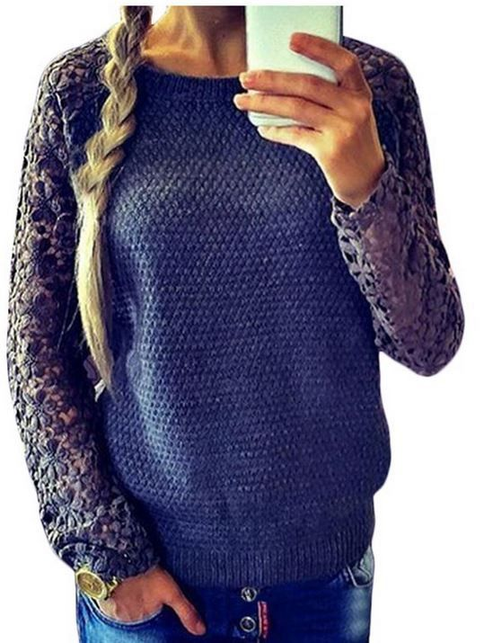 Cute Floral Lace Sleeve Embroidered Sweater