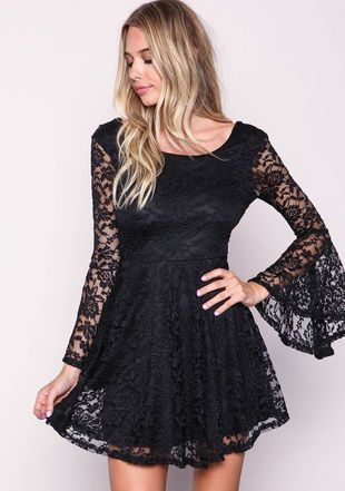Black Lacy Bell Sleeves Flare Dress, BLACK