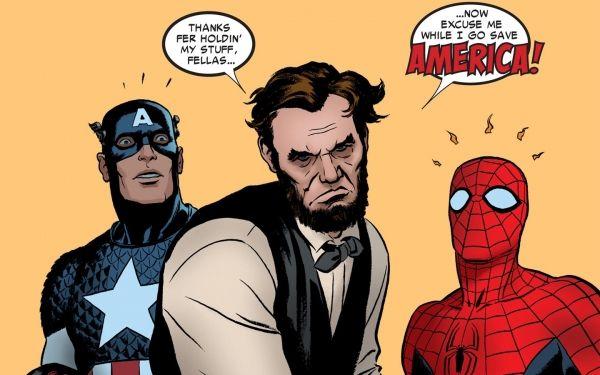 Spider-Man et Captain America doublés par Abraham Lincoln.