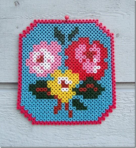 cath kidston roses with hama beads.  Or any cross stitch pattern