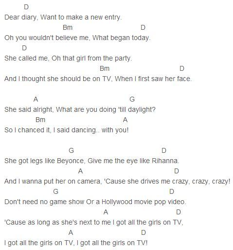 From The Ground Up Sheet Music With Lyrics: The Vamps - Girls On TV Chords