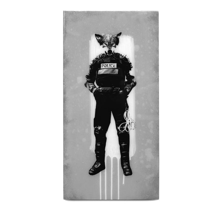 BISCO SMITH - WOLF PACK - 12 x 24 - mixed media on wood w/ resin finish - 2013