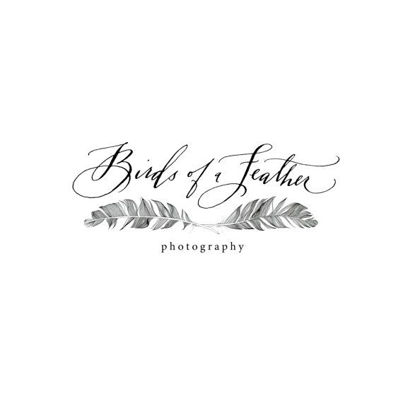 "BIRDS OF A FEATHER Business Branding & Logo in Calligraphy and by hazelwonderland. Cool looking logo. Love how the ""F"" in Feather fills the void in the center between the feathers."