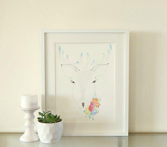 Deer with flowers. Watercolor art. Ink drawing.  #deer #reindeer #flowers #watercolors #nurserydecor #wallart