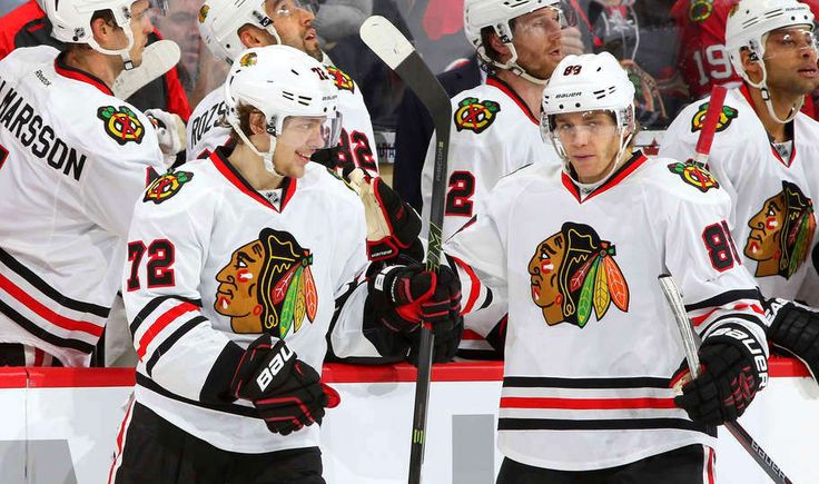 Artemi Panarin #72 his second period goal with Patrick Kane #88