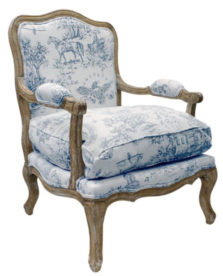 French Toile Armchair Blue Print u2013