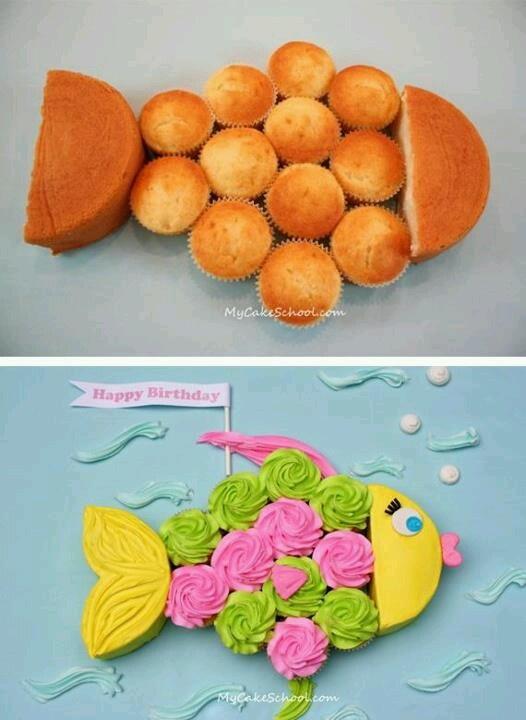 Fish cupcake and cake