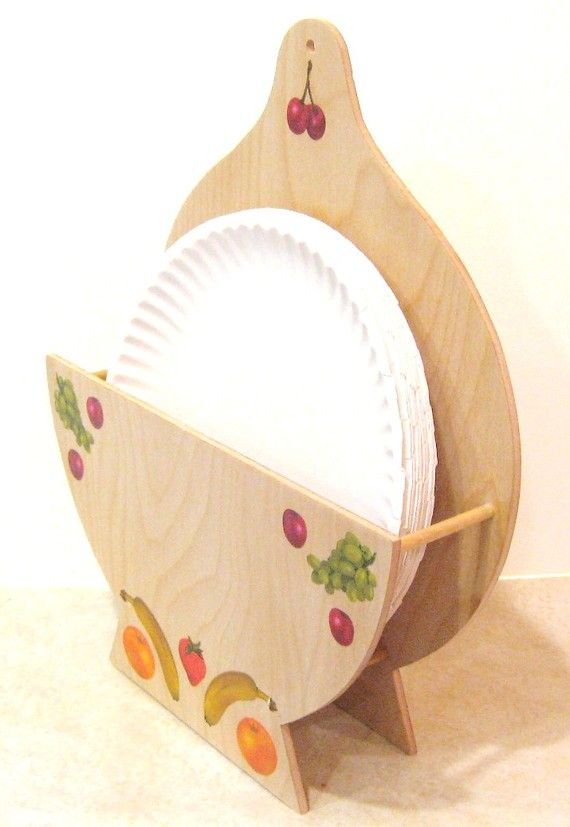 Wooden Paper Plate Holder by RLWoodcrafts on Etsy, $22.00 ...