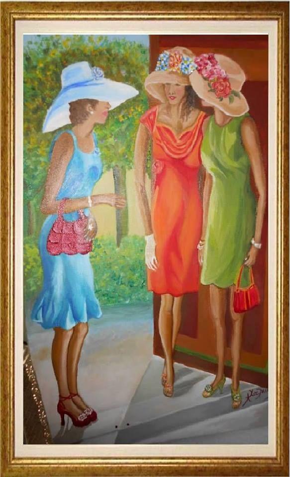 Οι φίλες ζωγραφικη  με λάδι σε μουσαμά cm38 x 55  girlfriends Oil on canvas dimensions cm38 x 55