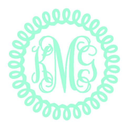 Curly vinyl monogram custom decal by georgiarestoration on etsy