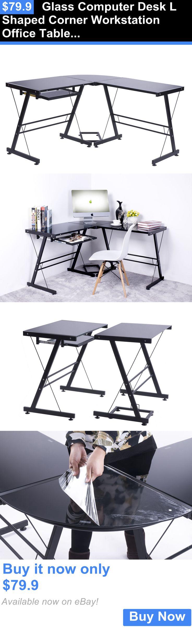 Office Furniture: Glass Computer Desk L Shaped Corner Workstation Office Table Furniture Black BUY IT NOW ONLY: $79.9