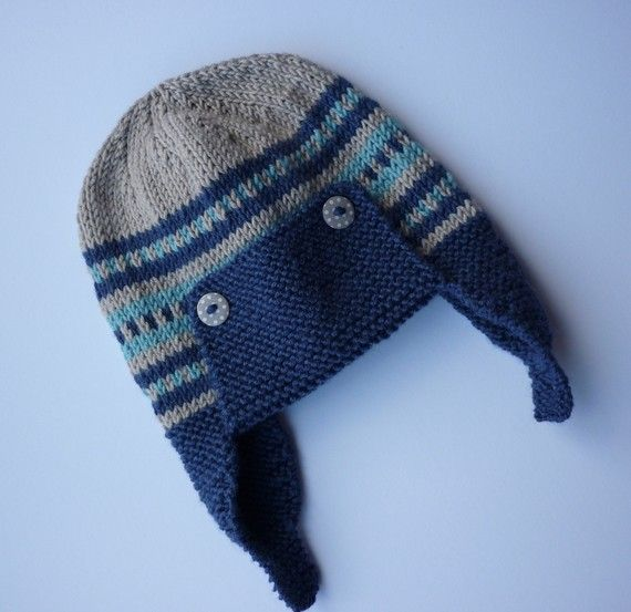 Yünden örülen Kulaklı Erkek Bebek şapkası