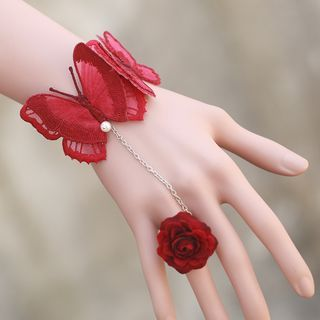 Butterfly Bracelet with Flower Ring