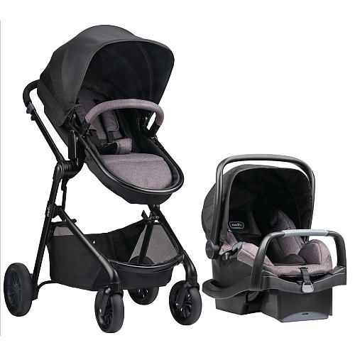 """Evenflo Pivot Modular Travel System with Safemax Infant Car Seat - Casual Gray - Evenflo - Babies """"R"""" Us"""