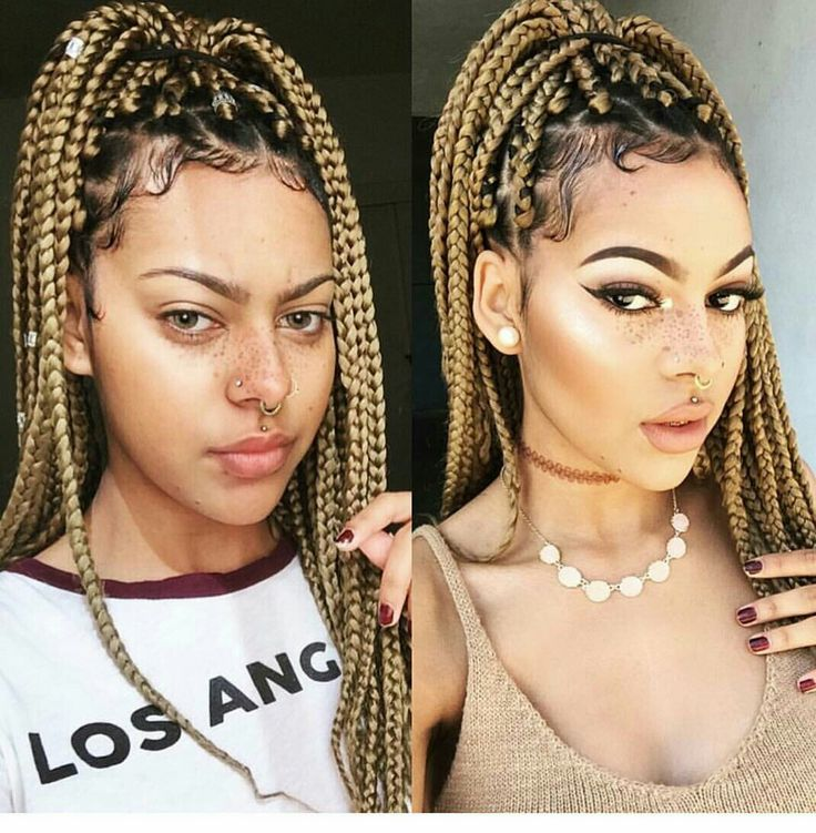 Love the hair color and her skin! #natural #jumbo #boxbraids #accents #makeup