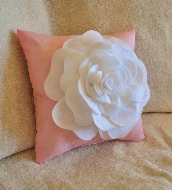 Throw Pillow White Rose on Light Pink Pillow 14x14 Botanical Home Decor 3D Rose Pillow ...