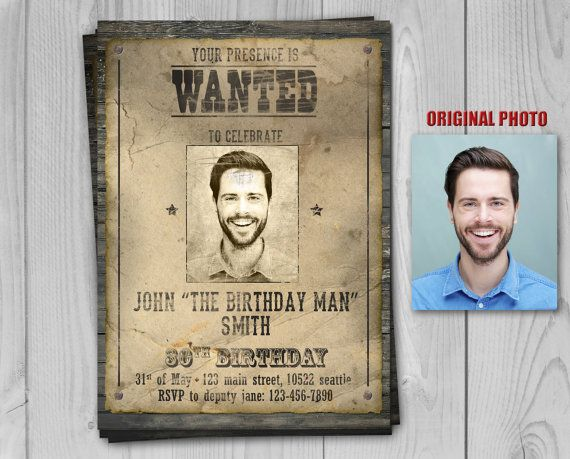 29 best ADULT BIRTHDAY INVITE - PRINTABLE INVITATIONS images on - printable wanted posters