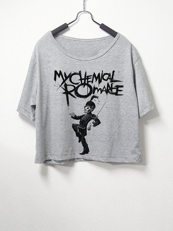 My Chemical Romance , crop top, grey color, women crop shirt, screenprint tshirt, graphic tee on Etsy, $14.99