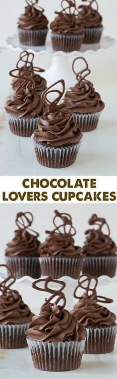 Chocolate Cupcakes with Chocolate Buttercream - these are the best chocolate cupcakes with melted chocolate in the batter!