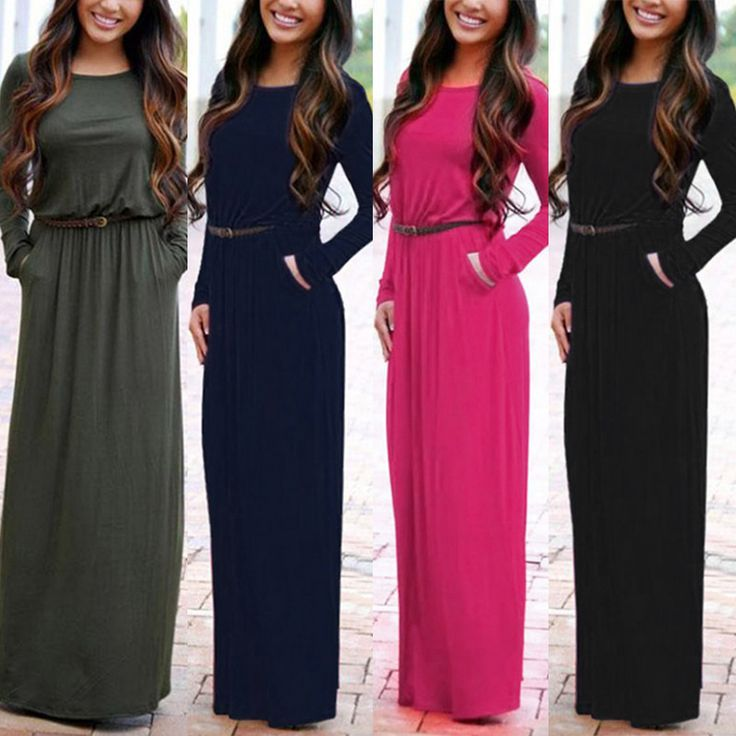 Boho Women Long Sleeve Maxi Dress solid  Evening Pure color Party long dresses Summer Beach Dress S-XL 2016 fashion new style