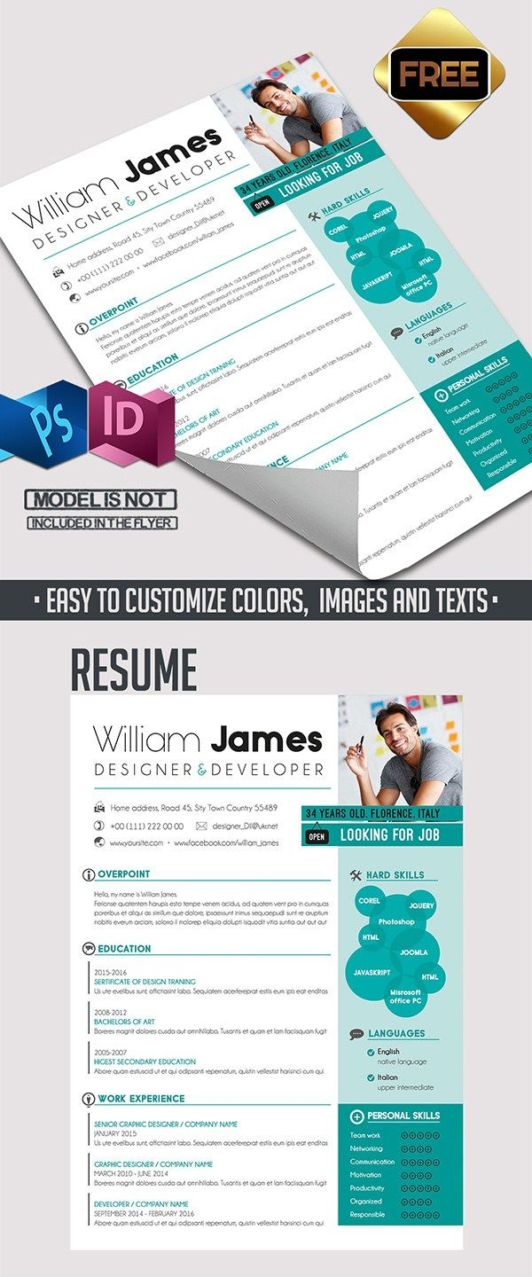 Free Resume Template & Cover Letter  #CV #Resume #PSD #Templates
