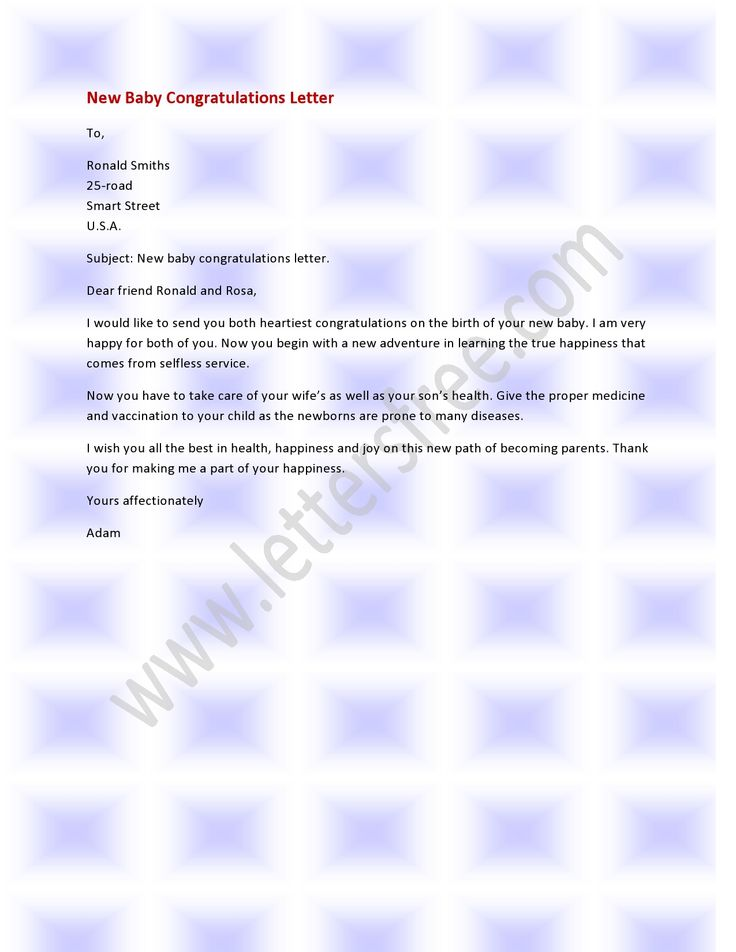A New Baby Congratulation Letter Is Written By Family
