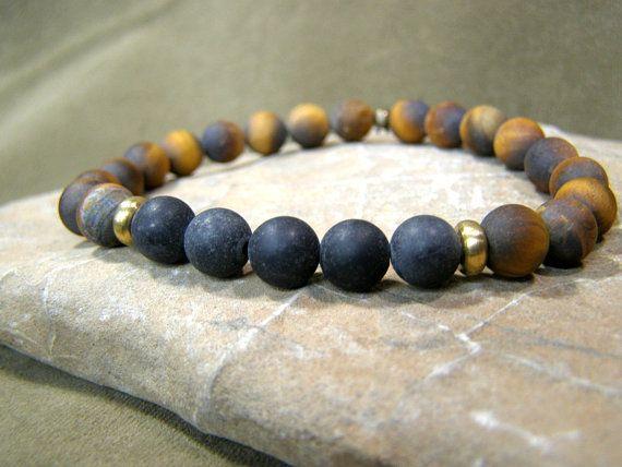 Mens Bracelet  Beaded Bracelet  Stretch Bracelet Guys Jewelry by StoneWearDesigns