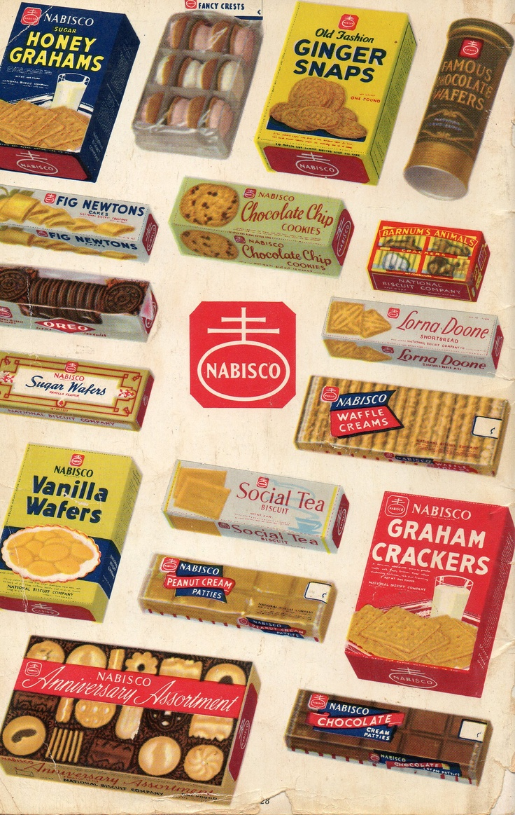 Back cover of a 1940s Nabisco Cookbook-75 Delicious Desserts. This photo shows their complete line of cookie and cracker products!