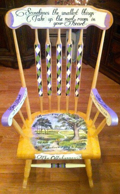 Custom Nursery Rocking Chair. Winnie the Pooh theme