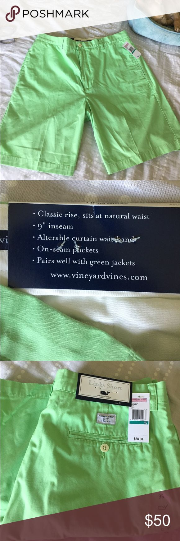"""Vineyard vines shorts Brand new with tags.  Green link shorts, classic rise, natural waist, 9"""" inseam, alterable curtain waistband. Open to offers and trades. Sleeping puppy not included 😂 Vineyard Vines Shorts Flat Front"""