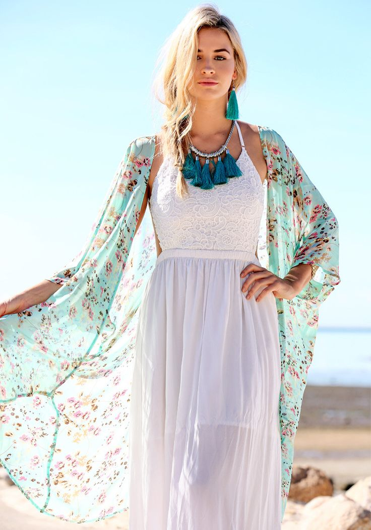 Floral Print Kimono - Crop Sleeves Top