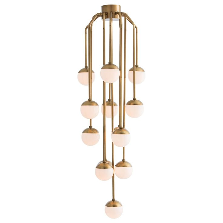 midcentury style meets sculptural modernity to create the arteriors vincent fixed chandelier this warm brass statement fixture showcases cascading spheres arteriors soho industrial style pendant light fixture