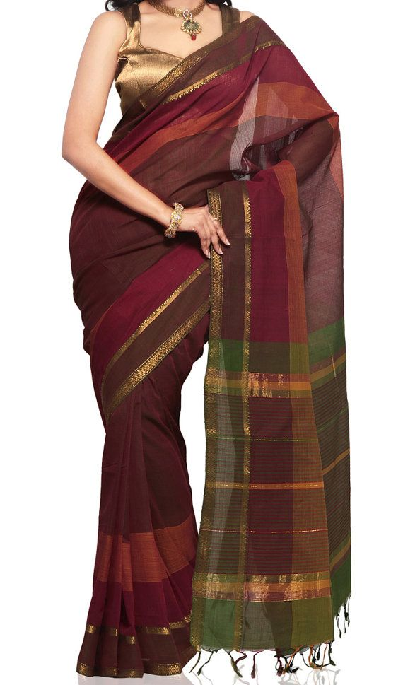 Maroon Green Color Mangalagiri Handloom Cotton by UppadaPattu