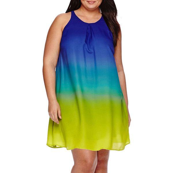 Worthington Sleeveless Pleated-Neck Shift Dress ($40) ❤ liked on Polyvore featuring plus size women's fashion, plus size clothing, plus size dresses, plus size, holiday party dresses, going out dresses, blue party dress, plus size party dresses and blue dress