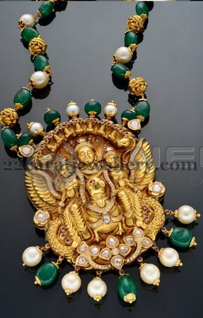 Jewellery Designs: Emerald Beads Set with Shiva Pendant