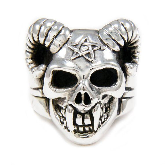429576b13 Baphomet/Pentagram/Goat/Demon/Skull/925 Sterling Silver Ring/Silver Ring/Biker  Jewelry/Silver Gothic in 2019 | Products | Sterling silver rings, Silver ...