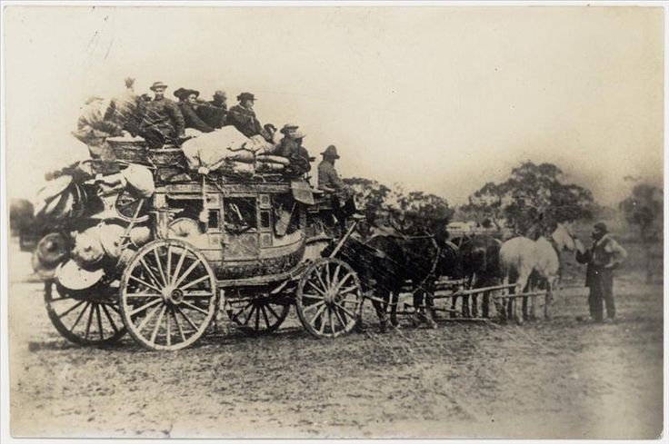 Culture Victoria - Chinese leaving for the diggings from Newstead on a Cobb & Co coach, c1865-1871