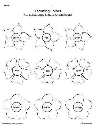Learning Colors and Tracing Flowers Worksheet Color