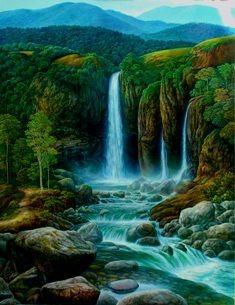 cuadros de paisajes con cascadas y animales - Buscar con Google